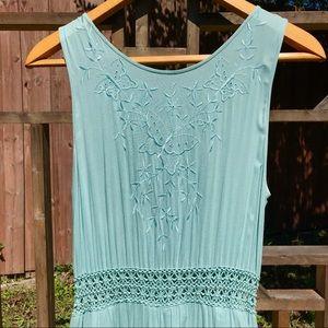Vintage Baby Blue Embroidered Summer Dress (S-M)